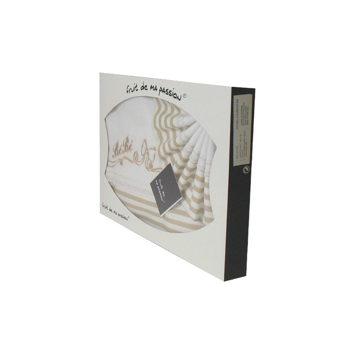 Box Set lenzuola per culla, passeggino, navicella striati beige - bambino del modello Fruit de ma Passion