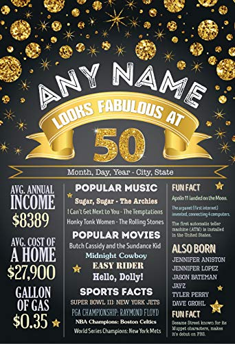 50th Birthday Sign - Milestone 50th Birthday Decoration - Born in 1969 Chalkboard Birthday -