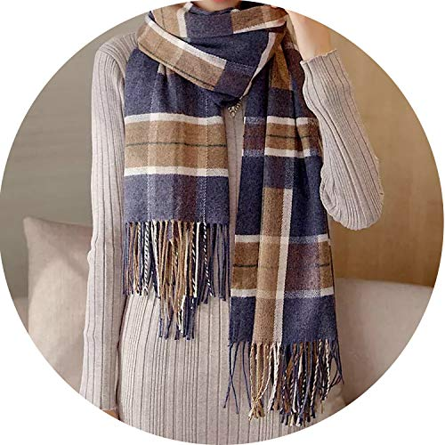 Price comparison product image Autumn and winter new classic Scottish lattice tassel blend scarf thick warm shawl, zangqing, onesize