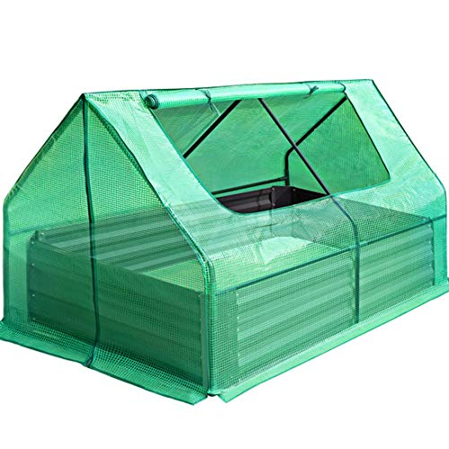 "Quictent 49""x37""x36"" Extra-Thick Galvanized Steel Raised Garden Bed Planter Kit Box with Greenhouse Large Zipper Doors, 20pcs T-Types Tags & 1 Pair of Gloves Included"