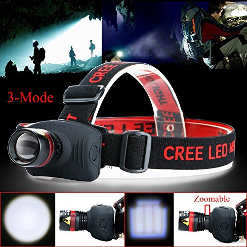 Headlamp ,Zoomable Light 3 Modes LED Headlight with Adjustable Headband , Headlamp Flashlight Torch, Best for Camping Running Hiking and Reading-300 Lumen