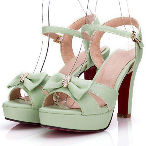 Tacón Tobillo Correa Zapatos Ancho Mujer Plataforma De Sandalias Green Coolcept 6qx5wBnZZ