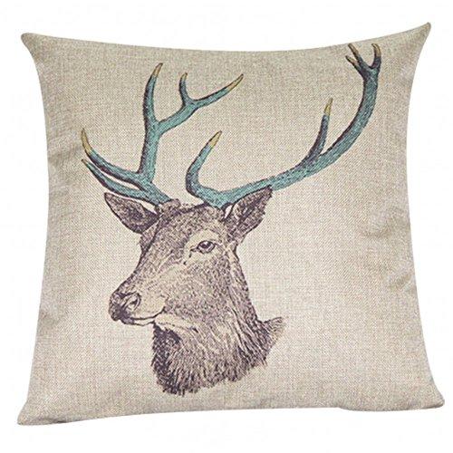 Oliasports Deer Cotton Linen Square Decorative Deer Head Throw Pillow Case Cushion, 18