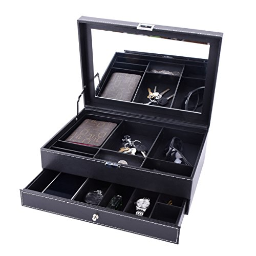 Autoark Leather Dresser Valet Jewelry Watch Organizer,Desktop Organizer for Keys,Coins,Wallet,Smartphone,Watches,Sunglasses and Accessories,Metal Buckle & Large Mirror,Big-Capacity,Black,AW-027 by Autoark (Image #4)