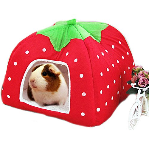 Rabbit Guinea Pig Hamster House Bed Cute Small Animal Pet Winter Warm Squirrel Hedgehog Chinchilla House Cage Nest Hamster Accessories (9″9″10″, A-Red)