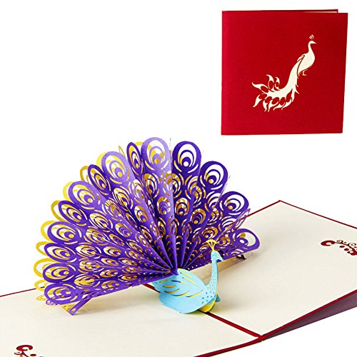 Wivily Beautiful Purple Peacock With Red Cover Handmade 3D Pop Up Christmas Cards Birthday Cards Best Wish Mother's Day Creative Greeting Cards Papercraft