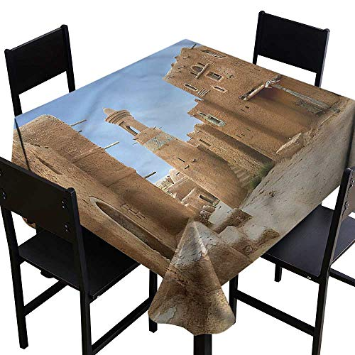 haommhome Easy Care Tablecloth Desert Sarai Batu Ancient City Soft and Smooth Surface W70 xL70 Washable Polyester - Great for Buffet Table, Parties, Holiday Dinner, Wedding & More -