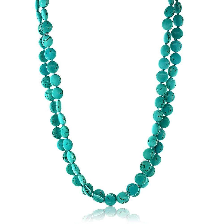"Handmade 48"" Long Pebble Shape Simulated Turquoise Necklace"