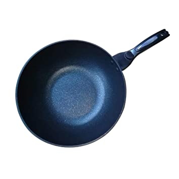 Wok- Wok, calibre 30cm, material de hierro fino, sin humos, cocina de inducción antiadherente, estufa de cerámica eléctrica, universal: Amazon.es: Hogar
