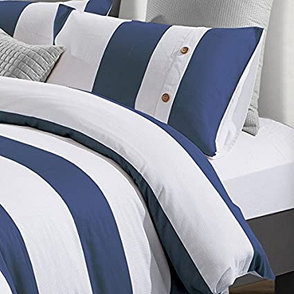 cb5840c495 Amazon.com: Superior Addison 100% Cotton, Stripe Duvet Cover with White  Waffle Weave and Navy Blue Chambray with 2 Pillow Shams Bedding Set ...