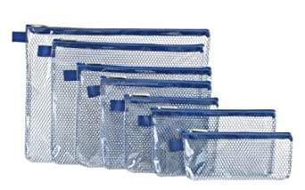 Travelon Set of 7 Packing Envelopes, Clear withBlue
