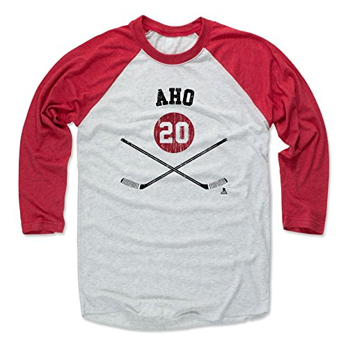 500 LEVEL Sebastian Aho Baseball Shirt Large Red/Ash - Carolina Hockey Fan Apparel - Sebastian Aho Carolina Sticks K