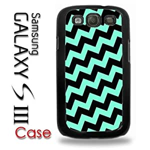 Samsung Galaxy S3 Plastic Case - Teal Baby Blue and Black Crooked Chevron