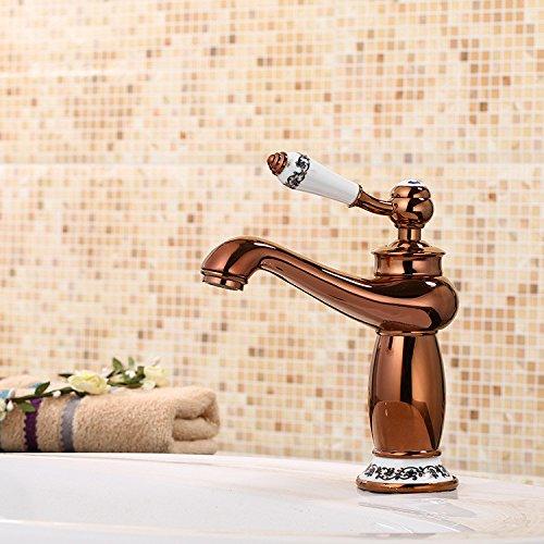 MMYNL TAPS MMYNL Waschtischarmatur Bad Mischbatterie Badarmatur Waschbecken Antique Rosa Gold heiße und kalte Voll Kupfer Keramik Antike Badezimmer Waschtischmischer