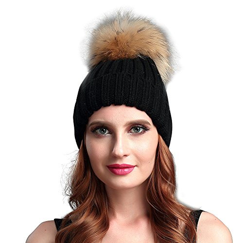 Henglong Winter Hats Beanies with Raccoon Fur Pom Pom Wool Knitted Cap