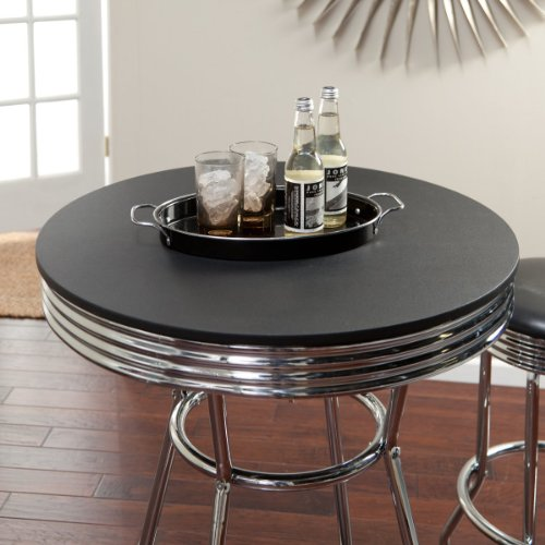 Amazon Roundhill Furniture Retro Style 3 Piece Chrome Metal Bar Table and Stools Kitchen Dining