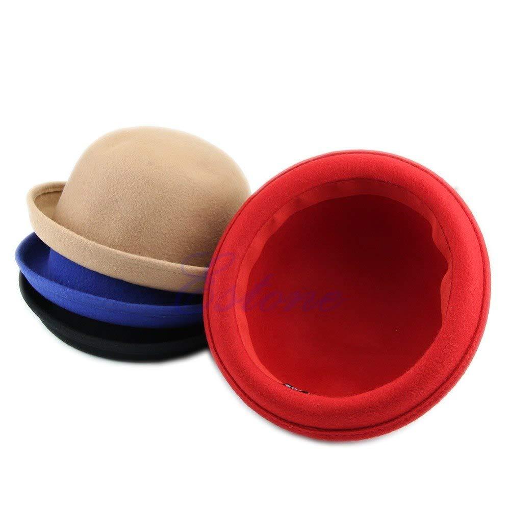 Vintage Ladies Women Cute Trendy Wool Solid Bowler Derby Hat