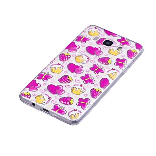 GZXiXi Funda Samsung Galaxy J5 2016 SM-J510F Carcasa Transparente Silicona Soft Silicone Cover Bumper Funda Protectora Carcasa Blanda Caso Suave Flexible Caja Delgado Ligero Casco Anti Rasguños Anti C pastel de fresa