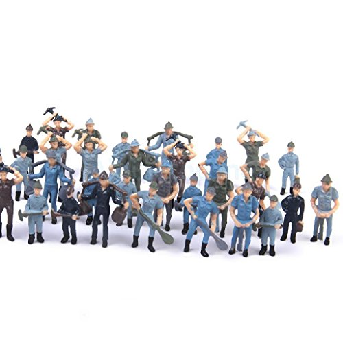 Shalleen 50pcs Train Railway Layout Painted Worker People Figures Model 1:42 Scale O