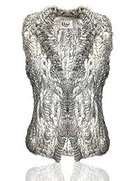 Uilor Women's natural rabbit fur knit vest Thick Warm