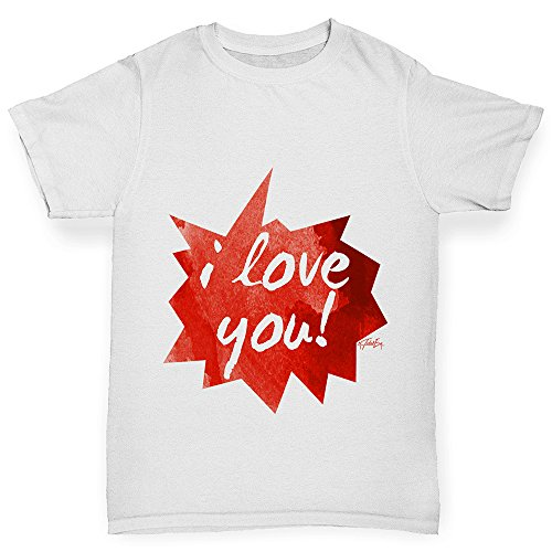 TWISTED ENVY Boys Funny Tshirts I Love You Spikey Speech Bubble Boy's T-Shirt Age 3-4 - Sunglasses Bubble White