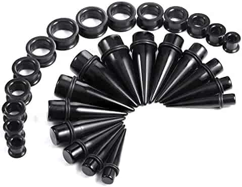 BodyJ4You Big Gauges kit 28 Pieces Tapers and Silicone Plugs Tunnels 00G-22mm Stretching Set