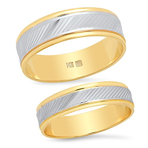 (Sage Designs L.A. 14K Solid White and Yellow Two Tone Gold His & Hers Matching Wedding Band Ring Set Slant Laser Cut (Choose a Size))