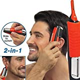 Leoie Man 2 in 1 Dual End Trimmer Clipper Micro Personal Beard Hair Touch Trimmer Shaver Grooming Remover Anti-skid Handle with LED Light