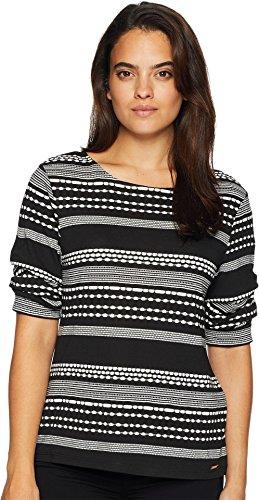 Shirt Striped Open Neck (Ivanka Trump Women's Cap Sleeve Rounded Neck Open Hem Shirt Black/White X-Large)