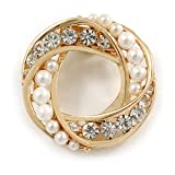 Avalaya White Synthetic Pearl & Clear Diamante Round Scarf Pin In Gold Finish - 3.5cm Diameter