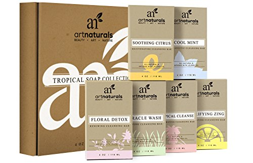 Art Naturals 6 Piece Soap Bar Set 4 oz. Each | 100% Natural & Infused with Jojoba Oil - Best for all Skin Types, Body & Face, Men & Women (Tea tree, Lavender, Eucalyptus, Lemon, Grapefruit & Orange)