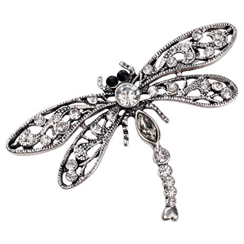 Hiddlston Crystal Dragonfly Custom Collection Stretch Antique Vine Statement Dome Butterfly Flower Wide Band Lavender Ring Halloween Christmas Costume Accessories Jewelry Gift Women Girl (Silver)