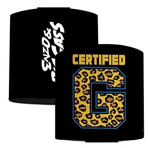 Enzo & Big Cass Certified G Logo Black Blue Leopard Gold Elastic Wrist Cuff 3.0