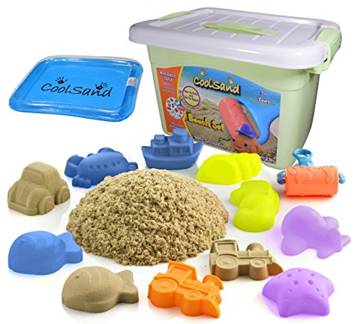CoolSand Deluxe Bucket - Beach Edition - Set Includes: 2 Pound Moldable Indoor Play Sand, Shaping Molds, Inflatable Sandbox & Storage Bucket - Featuring Sensory Kinetic Action