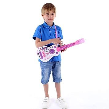 MRKE Guitarra Electrica Niños 53cm 4 Cuerdas Rock Juguete de Instrumentos Musicales Guitarra Regalo con LED Luces para Infantil Niño y Niña 3-6 Años: ...