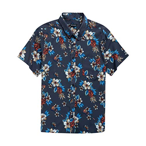 MCEDAR Men's Hawaiian Short Sleeve Shirt Aloha Flower Print Casual Button Down Beach Shirts (Blue Floral 080, Medium) ()