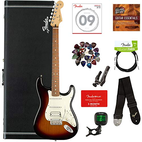 caster HSS, Pau Ferro - 3-Color Sunburst Bundle with Hard Case, Cable, Tuner, Strap, Strings, Picks, Capo, Fender Play Online Lessons, and Austin Bazaar Instructional DVD ()