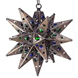 Moravian Star Light, Star Pierced Tin, Bronze with Marbles, 12''