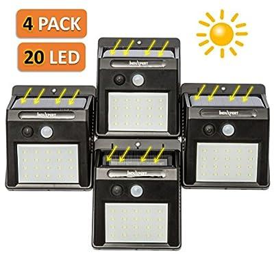 Induxpert LED Motion Sensor Lights - Outdoor LED Solar Spotlights - 20 LED Wireless Waterproof - Ideal for Patio, Deck, Garden, Yard, Garage - Exterior Motion Security Light - Night Sensor - 4 PCS