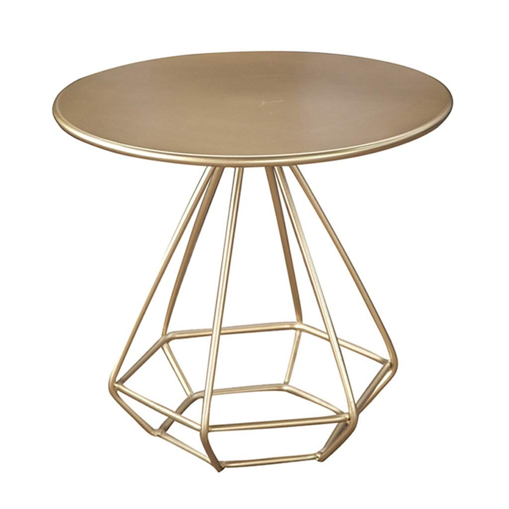 LQQGXLBedside Table Metal Coffee Table Round Small Apartment Living Room Balcony Side Table Gold Small Side Table by LQQGXL