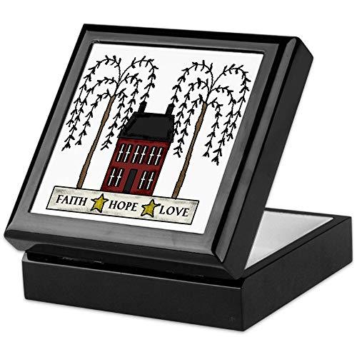 CafePress Faith,Hope,Love Keepsake Box, Finished Hardwood Jewelry Box, Velvet Lined Memento - Saltbox Willow
