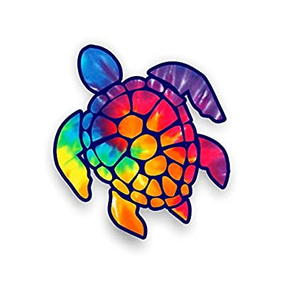Sea Turtle Decal/sticker (rainbow tie dye): Automotive
