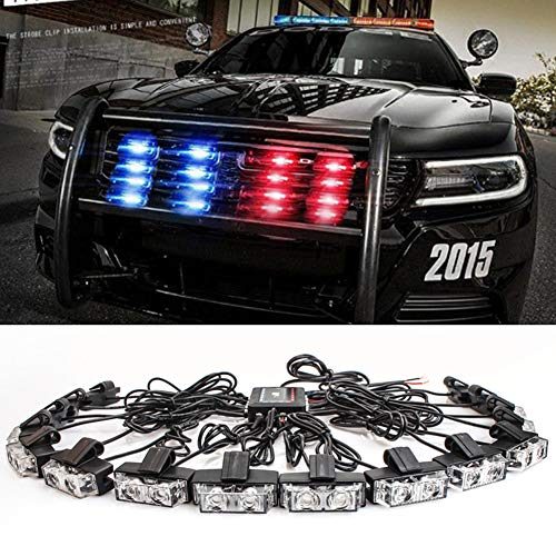 Clidrel 16 PCS 2-LED Flashing Modes Car Truck Emergency Flash Dash Vehicle Strobe Light Lamp Bars Warning Deck Dash Front Rear Grille with Remote Control (red - Led Flashing Blue