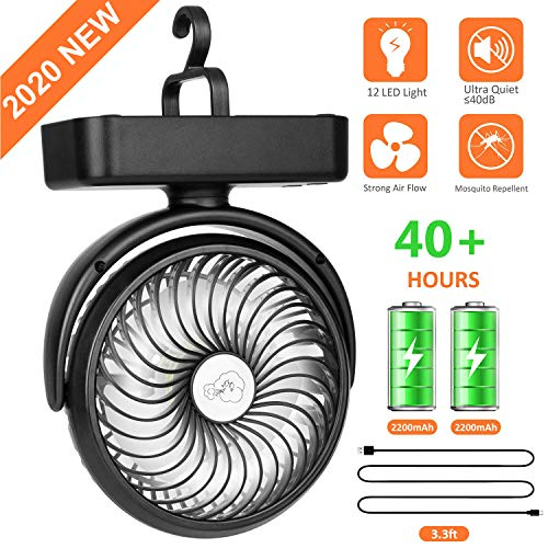COMLIFE Portable Desk Fan with 12 Led Lights, 4400mAh Rechargeable Battery Operated Fan with Built-in Hook, 3 Speeds, 360°Rotation, Mini Personal Cooling Fan for Camping, Hiking, Home,Office