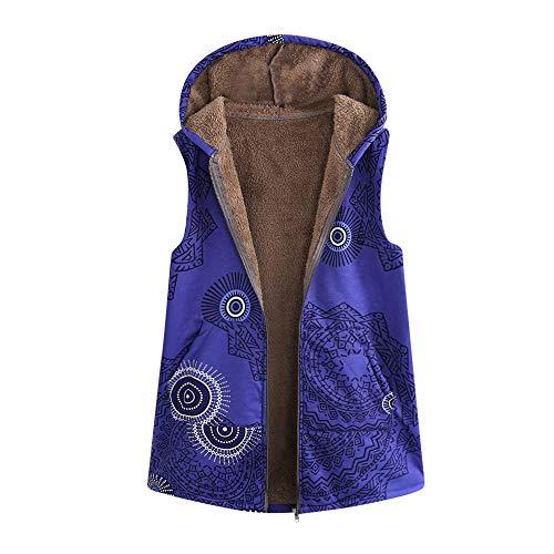 Women Warm Outwear Vintage Geometric Print Hooded Pockets Oversize Vest Coat
