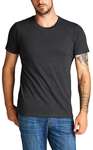 ToBeInStyle Men's Short Sleeve Crew Neck Marled T-Shirt - Charcoal - Medium
