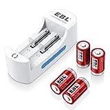 EBL Li-ion Universal Battery Charger 4 Pack 3.7V 750mAh RCR123A Rechargeable Batteries Li-ion 3.7V Battery Arlo Camera