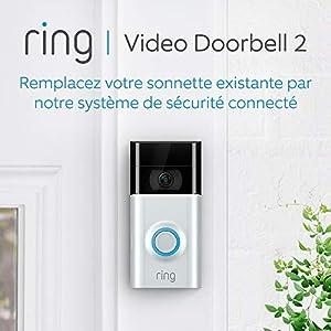 Ring Video Doorbell 2 | Sonnette Vidéo HD 1080p, système audio bidirectionnel, détection de mouvements et connexion Wi-Fi