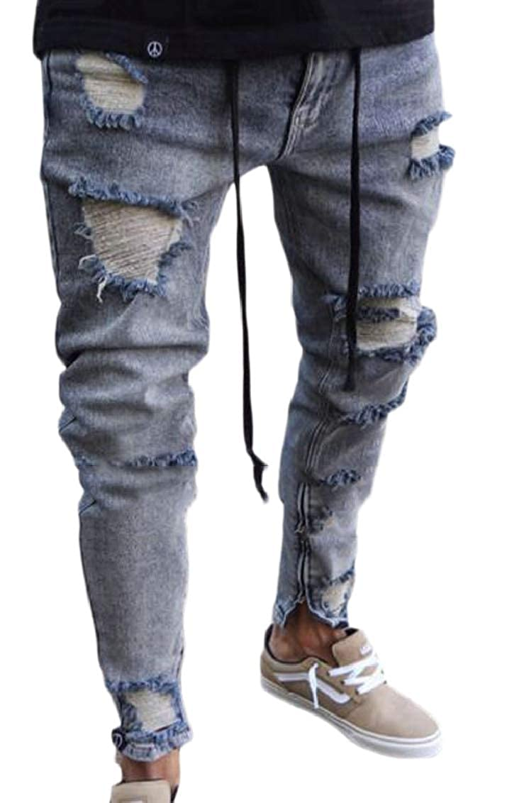 Hokny TD Mens Casual Washed Ripped Hole Destroyed Slim Jeans Jogger Pants