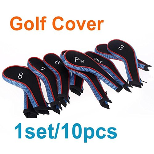 EverTrust ( TM ) 1set / 10個入りゴルフクラブアイアンパターヘッドカバー保護セットネオプレンブラックブルーx12   B00V34L71I